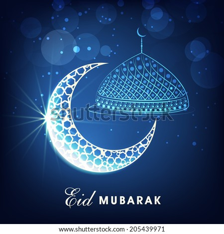 Muslim community festival Eid Mubarak celebrations concept with silver crescent moon and mosque on shiny blue background.