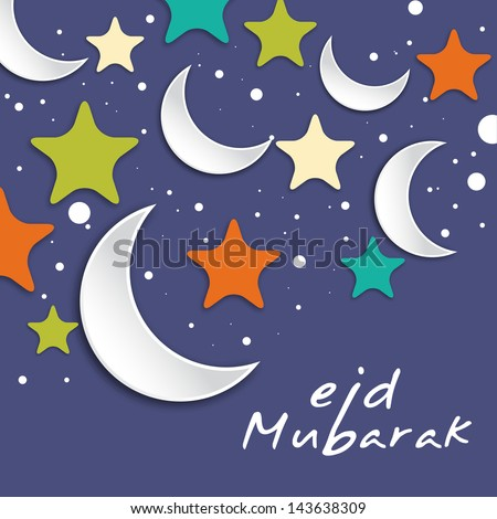 Muslim community festival Eid Mubarak concept with moons and colorful stars on purple background.