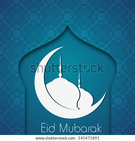 Muslim community festival Eid Mubarak with mosque and moon on abstract blue background. - stock vector