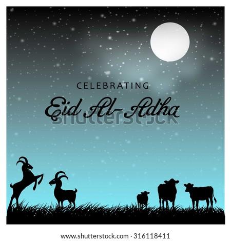 Muslim community festival Eid-Ul-Adha Mubarak celebrations greeting card design. Arabic Islamic calligraphy of text Eid-Ul-Adha. vector illustration - stock vector