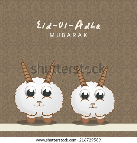 Muslim community festival of sacrifice Eid-Ul-Adha greeting card design with sheep's on brown floral design decorated seamless background.  - stock vector