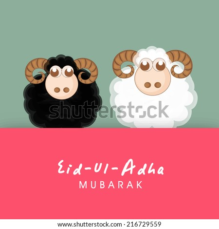 Muslim community festival of sacrifice Eid-Ul-Adha greeting card design with sheep's on creative colorful background. - stock vector