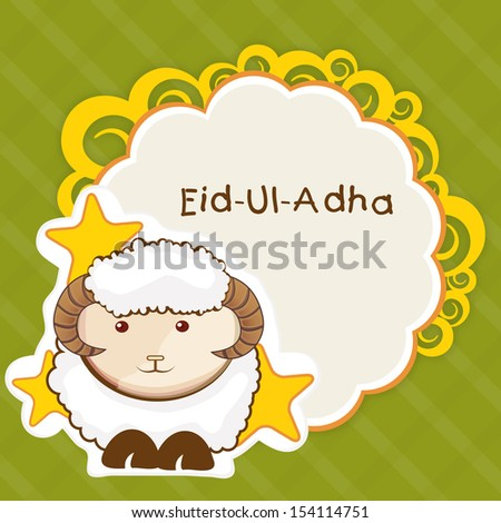 Muslim community festival of sacrifice Eid Ul Adha greeting card or background with sheep on abstract vintage background.  - stock vector