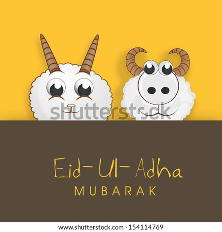 Muslim community festival of sacrifice Eid Ul Adha greeting card or background with sheep on abstract yellow and brown background.  - stock vector