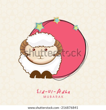 Muslim community festival of sacrifice Eid-Ul-Adha greeting card or background with sheep on abstract beige background.  - stock vector