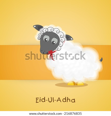 Muslim community festival of sacrifice Eid-Ul-Adha greeting card or background with sheep on yellow background.  - stock vector