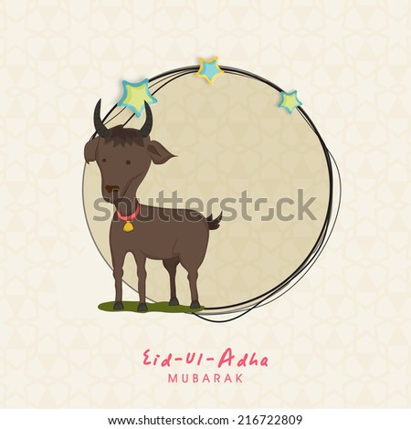Muslim community festival of sacrifice Eid-Ul-Adha greeting card with goat. - stock vector
