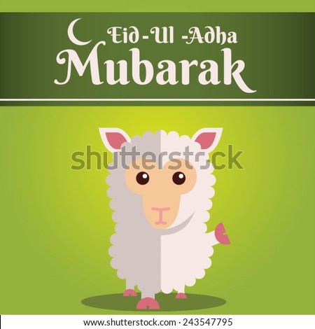 Muslim community kurban bayram - festival of sacrifice Eid Ul Adha greeting card or background with sheep on abstract vintage background. - stock vector