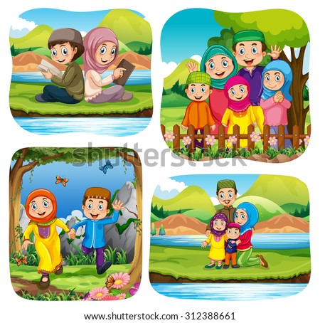 Muslim doing activities in the park illustration - stock vector