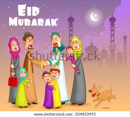Muslim families wishing Eid Mubarak,Happy Eid in vector - stock vector