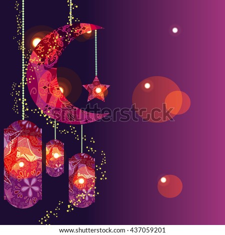 Beautiful Festival Eid Al-Fitr Decorations - stock-vector-muslim-festival-eid-al-fitr-eid-mubarak-and-ramadan-concept-with-decorated-moon-and-star-vector-437059201  Photograph_679185 .jpg