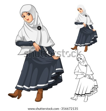 Muslim Girl Fashion Wearing White Veil or Scarf with Thanks Pose and Black Dress Outfit Include Flat Design and Outlined Version Cartoon Character Vector Illustration - stock vector