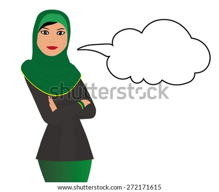 Muslim girl with message bubble - stock vector