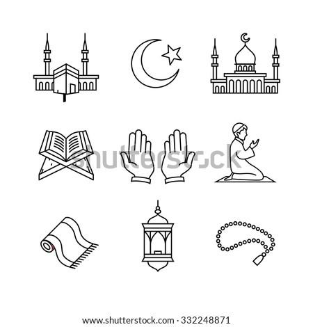 Muslim islam prayer and ramadan kareem thin line art icons set. Modern black symbols isolated on white for infographics or web use. - stock vector