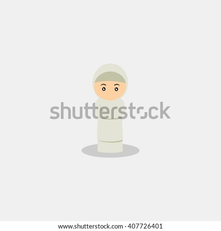 muslim kid doing salat, worshiping god. muslim kid cartoon. muslim kid character. muslim kid icon vector illustration design template - stock vector