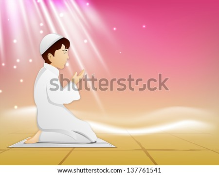 Muslim kid in traditional dress reading Namaj ( Islamic Prayer) on shiny abstract background. - stock vector