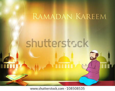 Muslim men reading Namaj with Koran or Quran and shiny moon, mosque or masjid background. EPS 10. - stock vector