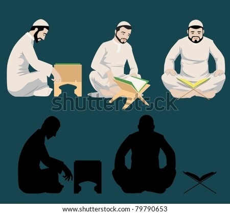 Muslim Men Reading The Holy Quran-vector - stock vector