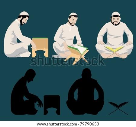 Muslim Men Reading The Holy Quran-vector - stock vector
