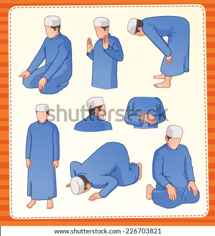 muslim praying postion - stock vector