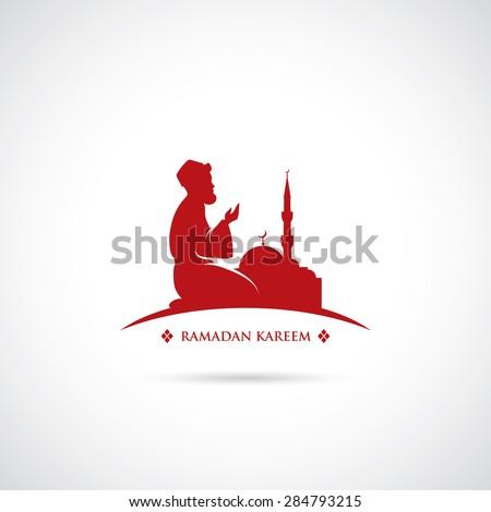 Muslim praying symbol - vector illustration  - stock vector