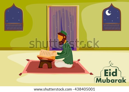 Muslim reading holy book Quran on Eid in vector - stock vector