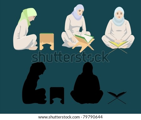 Muslim Women Reading The Holy Quran-vector - stock vector