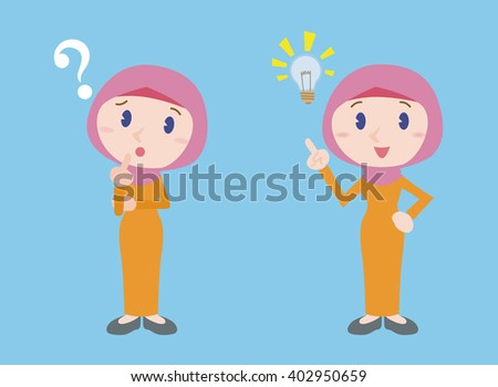 muslim young woman character, posing question and inspiration, vector illustration - stock vector