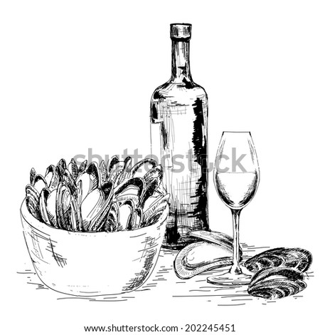 Mussels with wine. Hand drawn graphic illustration - stock vector