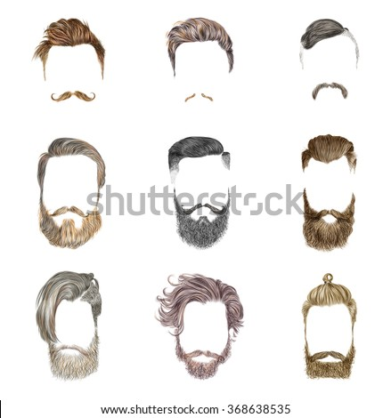 Mustache and beard Set on white background. Hipster style of men's hairstyle. Fashion vector illustration. - stock vector