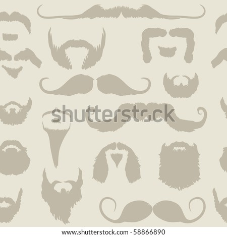 Mustache and beard set seamless pattern for No Shave November - Movember - stock vector
