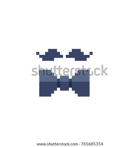 Mustache bow tie pixel art icons stock photo photo vector mustache and bow tie pixel art icons 8 bit accessory gentleman isolated voltagebd Choice Image
