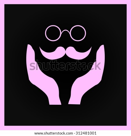 mustache and glasses icon, vector illustration. Flat design style - stock vector