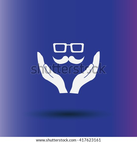 mustache and glasses on a hand icon, Vector illustration. - stock vector