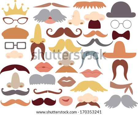 Mustache and photoprops - stock vector