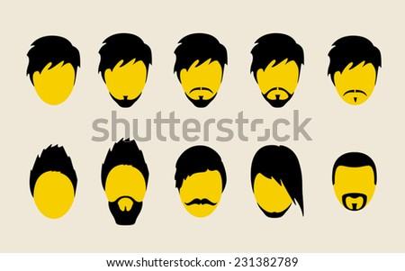 Mustache, beard and hair style set. - stock vector