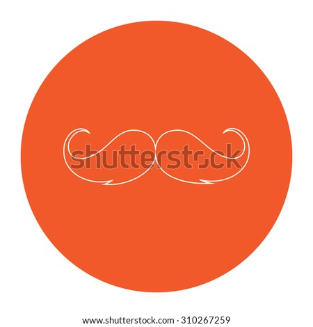 Mustache. Flat outline white pictogram in the orange circle. Vector illustration icon - stock vector