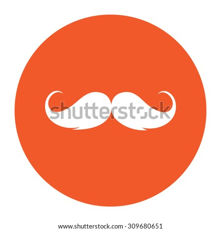 Mustache. Flat white symbol in the orange circle. Vector illustration icon - stock vector