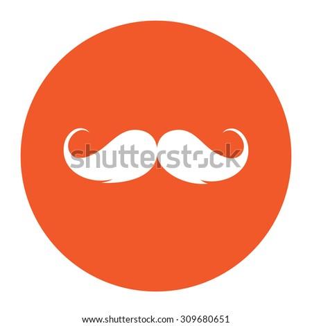 Mustache. Flat white symbol in the orange circle. Vector illustration icon - stock vector