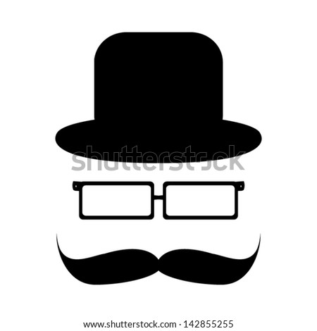 Mustache, glasses and a hat - stock vector