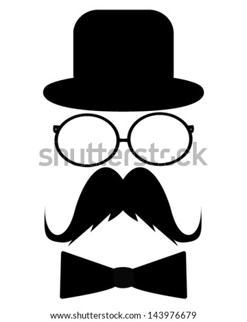 Mustache, hat, sunglasses and a butterfly - stock vector