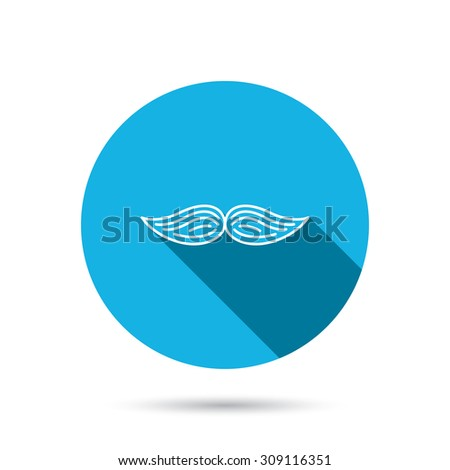 Mustache icon. Hipster symbol. Gentleman sign. Blue flat circle button with shadow. Vector - stock vector