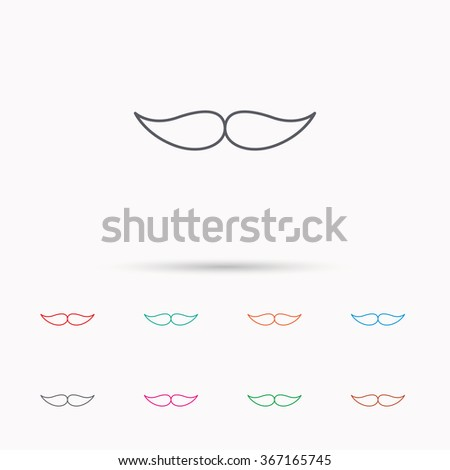 Mustache icon. Hipster symbol. Gentleman sign. Linear icons on white background. - stock vector