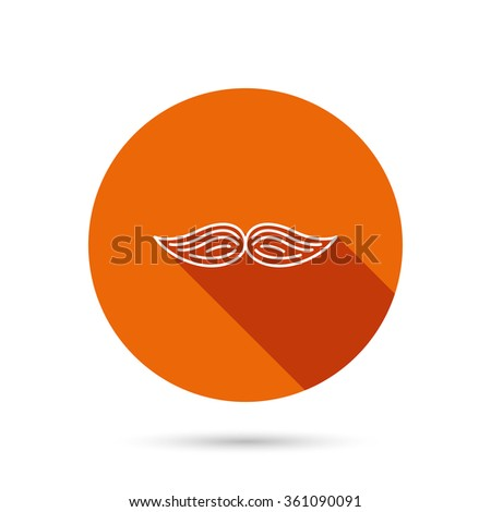 Mustache icon. Hipster symbol. Gentleman sign. Round orange web button with shadow. - stock vector