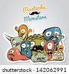 Mustache Monsters - stock vector