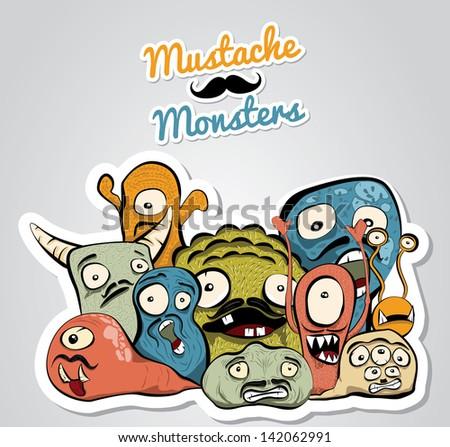 Mustache Monsters - stock vector