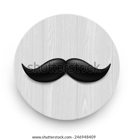 Mustache on a wooden background. Vector illustration - stock vector