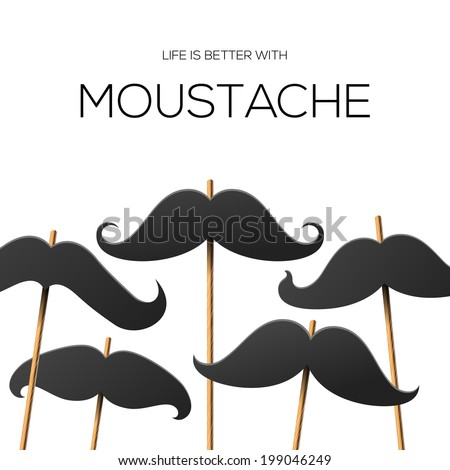 Mustache poster template for hipster party, vector illustration.  - stock vector