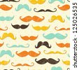 Mustache seamless pattern in vintage style. EPS 10 vector illustration. - stock vector