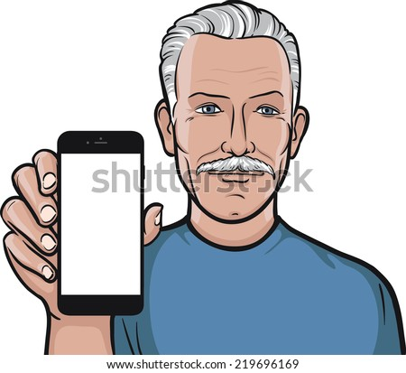 mustache senior man showing a mobile app on a smart phone - stock vector